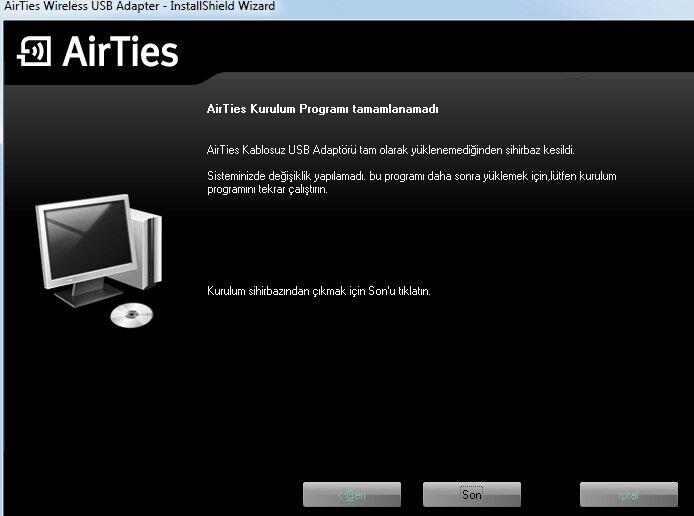 Airties Air 2210 Wireless USB Adaptör Kurulum Bitti Ekranı