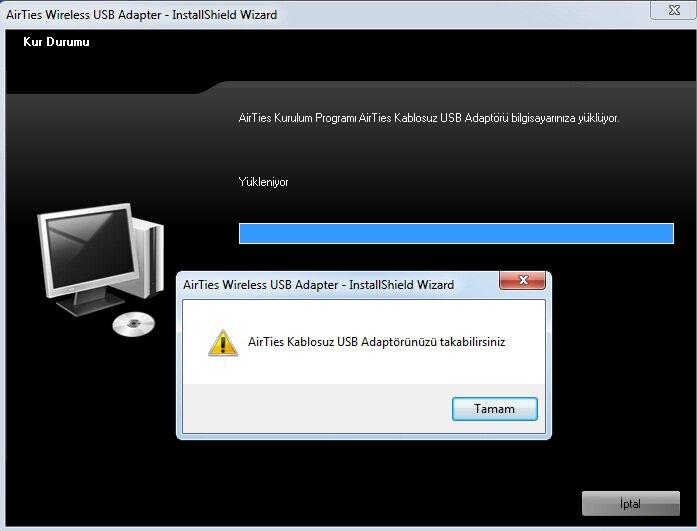 Airties Air 2210 Wireless USB Adaptör Kurulum Sonu